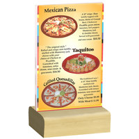 Menu Solutions WBCL-A 4 inch x 6 inch Clear Acrylic Table Tent with Solid Natural Wood Base