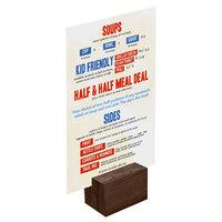 Menu Solutions WDBLOCK-REC 2 inch Walnut Wood Rectangular Card Holder