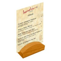 Menu Solutions WDBLOCK-RND 4 inch Country Oak Wood Rounded Card Holder