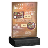 Menu Solutions WBCL-E 5 1/2 inch x 8 1/2 inch Clear Acrylic Table Tent with Solid Black Wood Base