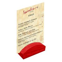 Menu Solutions WDBLOCK-RND 4 inch Berry Wood Rounded Card Holder