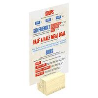 Menu Solutions WDBLOCK-REC 2 inch Natural Wood Rectangular Card Holder