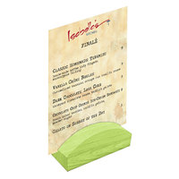 Menu Solutions WDBLOCK-RND 4 inch Lime Wood Rounded Card Holder