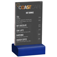 Menu Solutions WBCL-A 4 inch x 6 inch Clear Acrylic Table Tent with Solid True Blue Wood Base