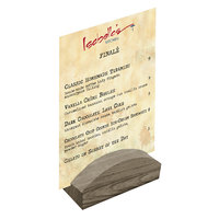 Menu Solutions WDBLOCK-RND 4 inch Weathered Walnut Wood Rounded Card Holder