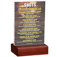 Menu Solutions WBCL-B 5 inch x 7 inch Clear Acrylic Table Tent with Solid Mahogany Wood Base