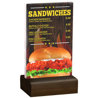 Menu Solutions WBCL-A 4 inch x 6 inch Clear Acrylic Table Tent with Solid Walnut Wood Base
