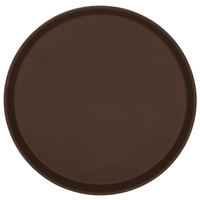 Cambro 1400TL138 Treadlite 14 inch Round Brown Non-Skid Fiberglass Serving Tray   - 12/Case