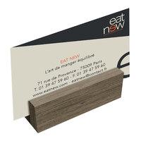 Menu Solutions WDBLOCK-MINI 3 inch Weathered Walnut Wood Mini Card Holder