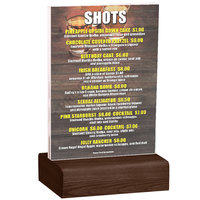 Menu Solutions WBCL-B 5 inch x 7 inch Clear Acrylic Table Tent with Solid Walnut Wood Base