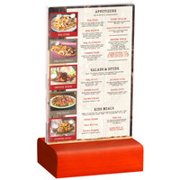 Menu Solutions WBCL-A 4 inch x 6 inch Clear Acrylic Table Tent with Solid Berry Wood Base