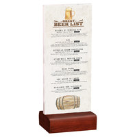 Menu Solutions WBCL-BA 4 1/4 inch x 11 inch Clear Acrylic Table Tent with Solid Mahogany Wood Base