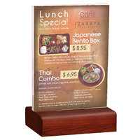 Menu Solutions WBCL-E 5 1/2 inch x 8 1/2 inch Clear Acrylic Table Tent with Solid Mahogany Wood Base