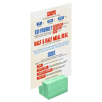 Menu Solutions WDBLOCK-REC 2 inch Washed Teal Wood Rectangular Card Holder