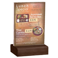 Menu Solutions WBCL-E 5 1/2 inch x 8 1/2 inch Clear Acrylic Table Tent with Solid Walnut Wood Base
