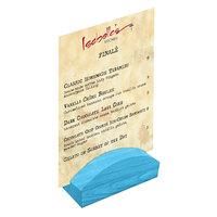 Menu Solutions WDBLOCK-RND 4 inch Sky Blue Wood Rounded Card Holder