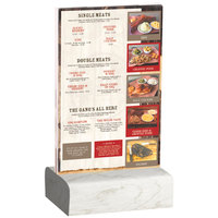 Menu Solutions WBCL-A 4 inch x 6 inch Clear Acrylic Table Tent with Solid White Wash Wood Base