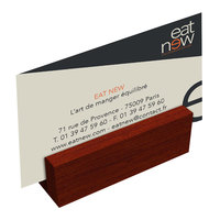 Menu Solutions WDBLOCK-MINI 3 inch Mahogany Wood Mini Card Holder