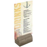 Menu Solutions WDBLOCK-CURV 3 inch Weathered Walnut Wood Curved Card Holder