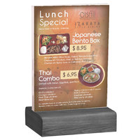Menu Solutions WBCL-E 5 1/2 inch x 8 1/2 inch Clear Acrylic Table Tent with Solid Ash Wood Base