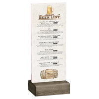 Menu Solutions WBCL-BA 4 1/4 inch x 11 inch Clear Acrylic Table Tent with Solid Weathered Walnut Wood Base