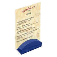 Menu Solutions WDBLOCK-RND 4 inch True Blue Wood Rounded Card Holder