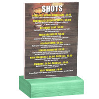 Menu Solutions WBCL-B 5 inch x 7 inch Clear Acrylic Table Tent with Solid Washed Teal Wood Base