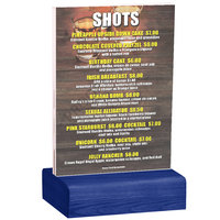 Menu Solutions WBCL-B 5 inch x 7 inch Clear Acrylic Table Tent with Solid True Blue Wood Base