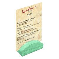 Menu Solutions WDBLOCK-RND 4 inch Washed Teal Wood Rounded Card Holder