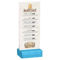 Menu Solutions WBCL-BA 4 1/4 inch x 11 inch Clear Acrylic Table Tent with Solid Sky Blue Wood Base