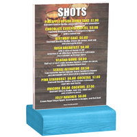 Menu Solutions WBCL-B 5 inch x 7 inch Clear Acrylic Table Tent with Solid Sky Blue Wood Base