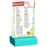 Menu Solutions WBCL-A 4 inch x 6 inch Clear Acrylic Table Tent with Solid Washed Teal Wood Base
