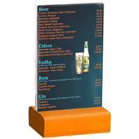 Menu Solutions WBCL-A 4 inch x 6 inch Clear Acrylic Table Tent with Solid Mandarin Wood Base