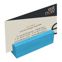 Menu Solutions WDBLOCK-MINI 3 inch Sky Blue Wood Mini Card Holder