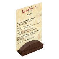Menu Solutions WDBLOCK-RND 4 inch Walnut Wood Rounded Card Holder