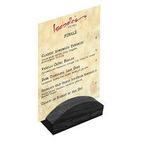 Menu Solutions WDBLOCK-RND 4 inch Black Wood Rounded Card Holder