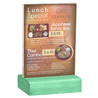 Menu Solutions WBCL-E 5 1/2 inch x 8 1/2 inch Clear Acrylic Table Tent with Solid Washed Teal Wood Base