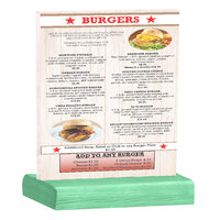 Menu Solutions WBCL-C 8 1/2 inch x 11 inch Clear Acrylic Table Tent with Solid Washed Teal Wood Base