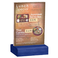 Menu Solutions WBCL-E 5 1/2 inch x 8 1/2 inch Clear Acrylic Table Tent with Solid True Blue Wood Base
