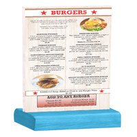 Menu Solutions WBCL-C 8 1/2 inch x 11 inch Clear Acrylic Table Tent with Solid Sky Blue Wood Base