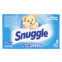 2 Count Snuggle Blue Sparkle Dryer Sheet Fabric Softener Box for Coin Vending Machine - 100/Case