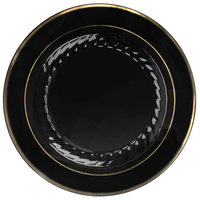 Fineline Silver Splendor 510-BKG 10 inch Black Plastic Plate with Gold Bands - 120/Case