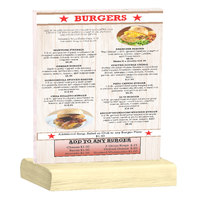 Menu Solutions WBCL-C 8 1/2 inch x 11 inch Clear Acrylic Table Tent with Solid Natural Wood Base