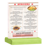 Menu Solutions WBCL-C 8 1/2 inch x 11 inch Clear Acrylic Table Tent with Solid Lime Wood Base