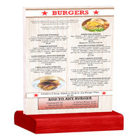 Menu Solutions WBCL-C 8 1/2 inch x 11 inch Clear Acrylic Table Tent with Solid Berry Wood Base