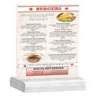 Menu Solutions WBCL-C 8 1/2 inch x 11 inch Clear Acrylic Table Tent with Solid White Wash Wood Base