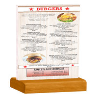 Menu Solutions WBCL-C 8 1/2 inch x 11 inch Clear Acrylic Table Tent with Solid Country Oak Wood Base