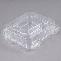 Durable Packaging PXT-833 8 inch x 8 inch x 3 inch Three Compartment Clear Hinged Lid Plastic Container - 125/Pack