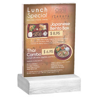 Menu Solutions WBCL-E 5 1/2 inch x 8 1/2 inch Clear Acrylic Table Tent with Solid White Wash Wood Base