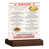 Menu Solutions WBCL-C 8 1/2 inch x 11 inch Clear Acrylic Table Tent with Solid Walnut Wood Base